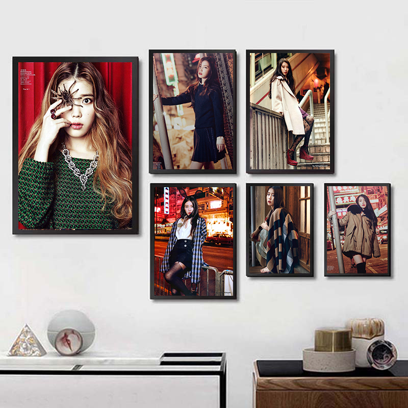 Korea Girl Star IU Lee Ji Eun Wall Stickers Home Decoration High Quality Prints White Coated Paper home art Brand Gift girl