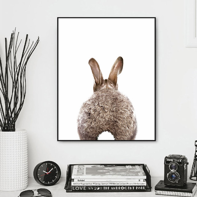 Rabbit Tail Print Nursery Decor Woodland Animal Wall Art Baby Bunny S Room