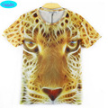 2016 summer style short sleeve round collar t-shirt for teens girls new Europe and America 3D leopard printed boys tshirt  CT17