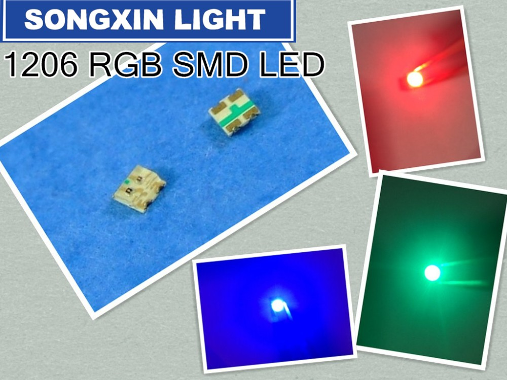3000pcs 1206 RGB Common Anode SMD 1206 LED Bead 3227 RGB Tricolor Red Green Blue Ultra