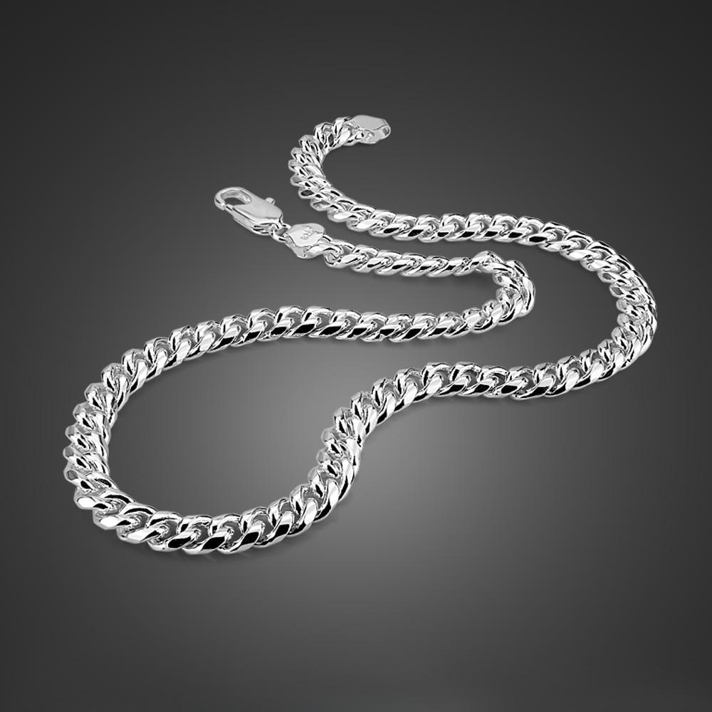 Mode hommes 925 collier en argent Sterling Hip Hop Rock Style fouet collier réel argent fait pas de décoloration accessoires de fête cadeaux