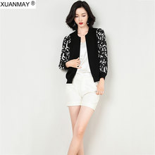 Autumn 2019 women's knit Cardigan Sweater coat Brand design printed Chiffon stitching Sweater Shawl Black Autumn Knit sweater(China)