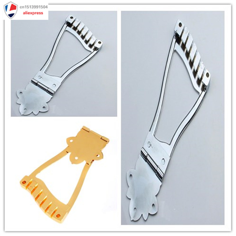 chrome gold 6 string jazz guitar bridge trapeze tailpiece for hollow body archtop parts in. Black Bedroom Furniture Sets. Home Design Ideas