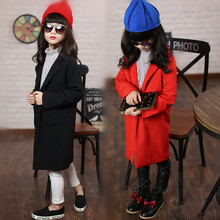 Girls Suit Autumn European Children Standing Long Kids Clothing Cotton Red Black