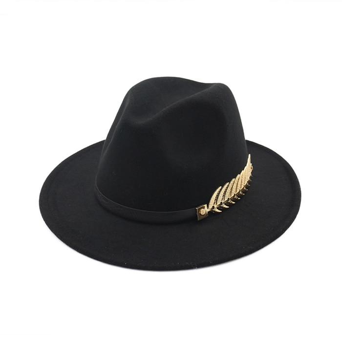 661eedbe3 Woolen Felt Hat Panama Jazz Fedoras hats with Metal Leaf Flat Brim ...