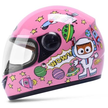 Fashion Pink cat children full face motorcycle helmet MOTO electric bicycle safety headpiece child kids motocross helmets