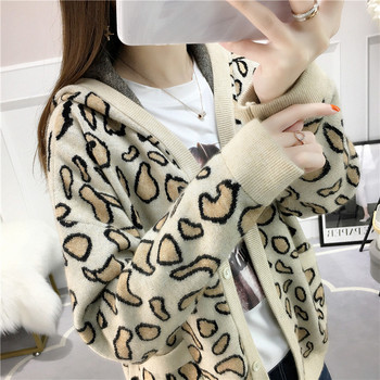 2019 New Arrival  Knitted V-neck Full Regular Cardigans Regular Flowers Leopard Single Breasted  Even the clothes hat Cardigans