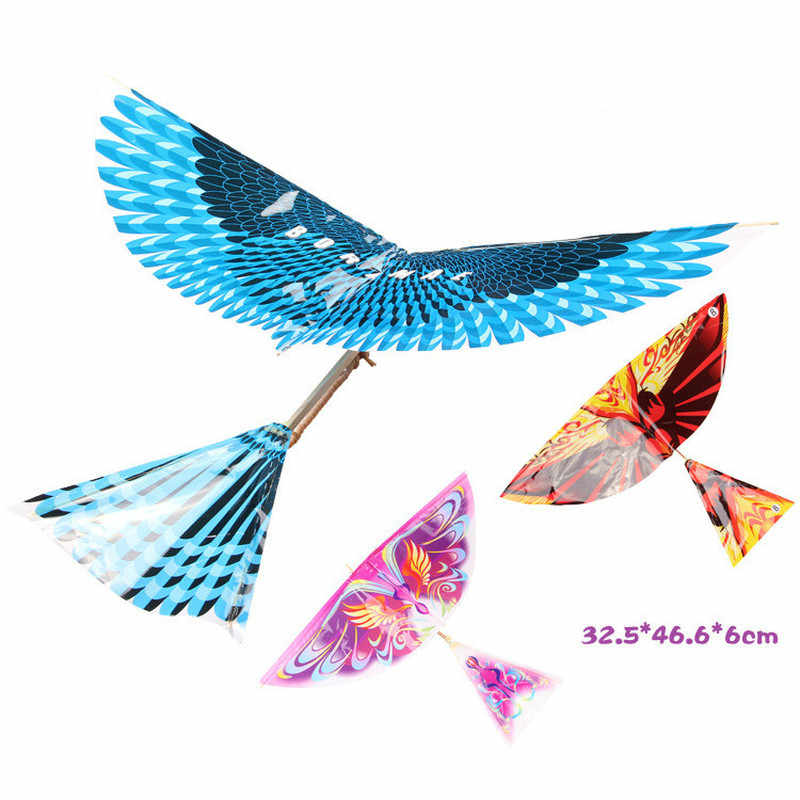 10pcs Science Kite Outdoor Toys Rubber Band Power Birds Handmade Bionic Air Plane Ornithopter Birds Models Educational Toy