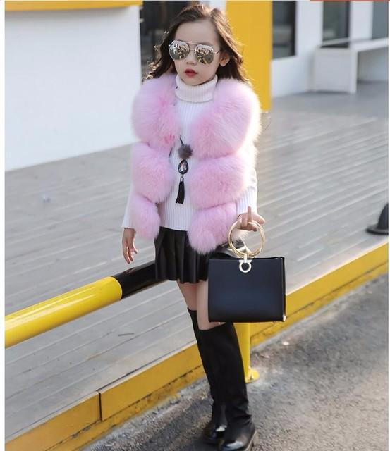 CHCDMP New Soft Fox Fur Vest for Baby Girls Kid Faux Fur Vests Children Jacket Coat Gray Pink V-neck Newborns Outerwear & Coats