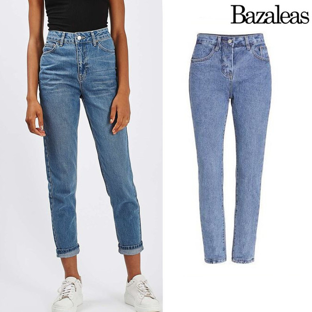 2017 Bazaleas Fashion Loose Jeans Boyfriend High Waist Jean Demin ankle length Pants Woman spring summer style