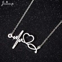 Jisensp New Fashion Stainless Steel Stethoscope Heartbeat Necklace Women Doctor Nurse Romantic Heart Necklaces & Pendants татуировка переводная heartbeat