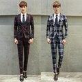Mens Ternos Xadrez Nova Moda Ternos De Casamento do Desenhador para Homens Homme Traje Pary Prom Terno Ternos Slim Fit da Verificação da Manta