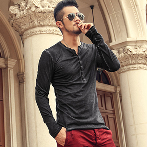 Image 5 - Brand Designer Men Cotton Vintage Henry T Shirts Casual Long Sleeve High quality Men old color Cardigan T shirt  2018 hot sale