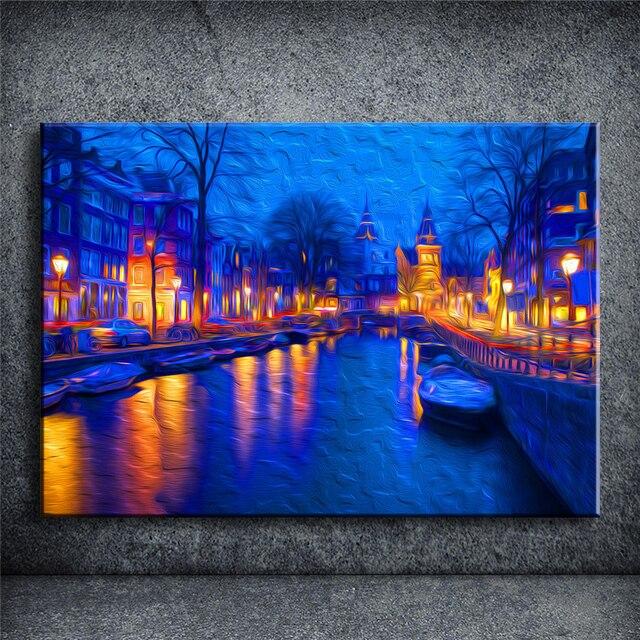 Kota Malam HD Gaya Lukisan Minyak Modern Abstrak Lukisan