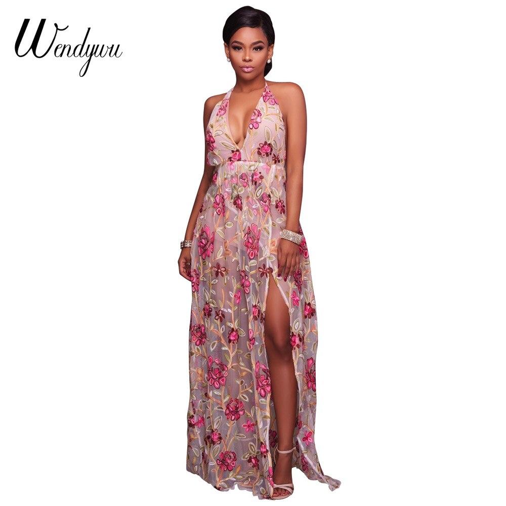 Wendywu New Fashion Sexy Deep V Neck Halter Floral Printed Summer font b Pink b font
