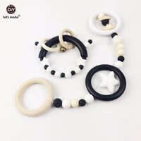 Wooden Teething Pendant 2pc Silicone Star Baby Play Gym Accessories Charms Baby Gift Wooden Rattle Toys