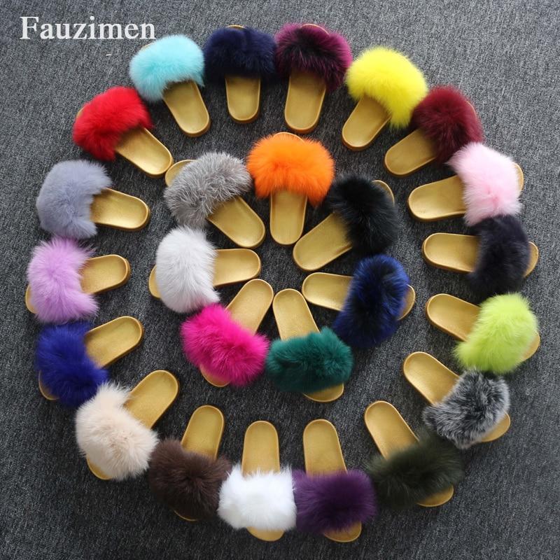 Wholesale Luxury Fur Slides On Sale Fox Fur Skin Soft Eva Sole Fur Slippers Apparel Accessories