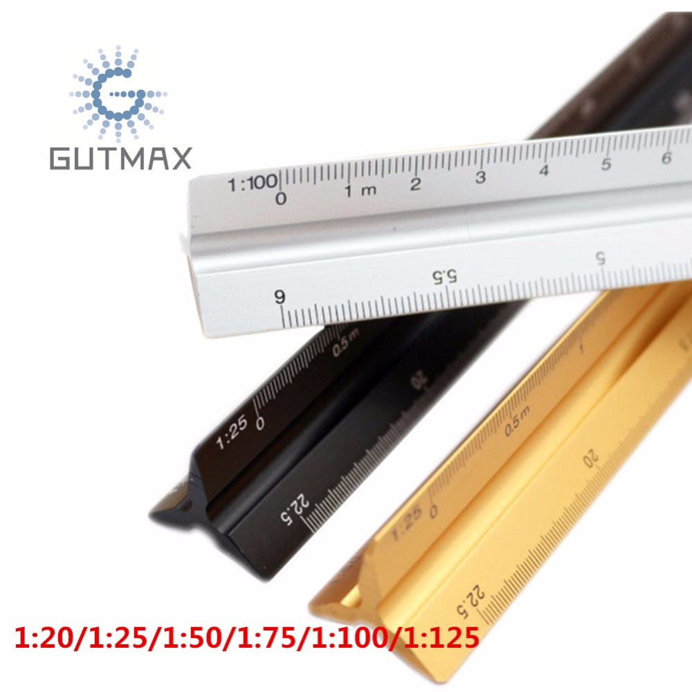 1:20 1:25 1:50 1:75 1:100 1:125 Plastic Triangular Scale Ruler Measurement SS