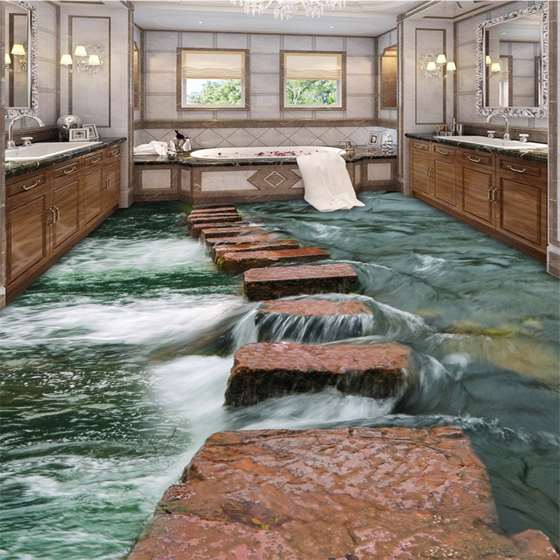 beibehang Clear river floor path toilets bathroom 3d flooring painting waterproof self-adhesive 3d wallpaper papel de parede beibehang walking cloud 3d floor tile tile customization large fresco pvc thick wear resistant floor cover papel de parede