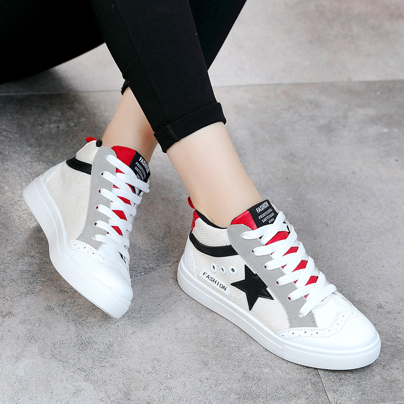 2019 Ladies Fashion Stars Spring and Autumn White Shoes Student Girl Comfortable Trend Womens Shoes in Women 39 s Vulcanize Shoes from Shoes