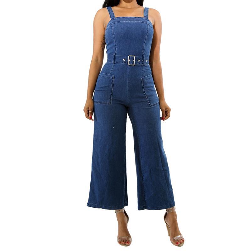 Vintage Women Jumpsuit Romper 2018 Summer Casual Sleeveles Pocket Demin Jumpsuit Wide Le ...
