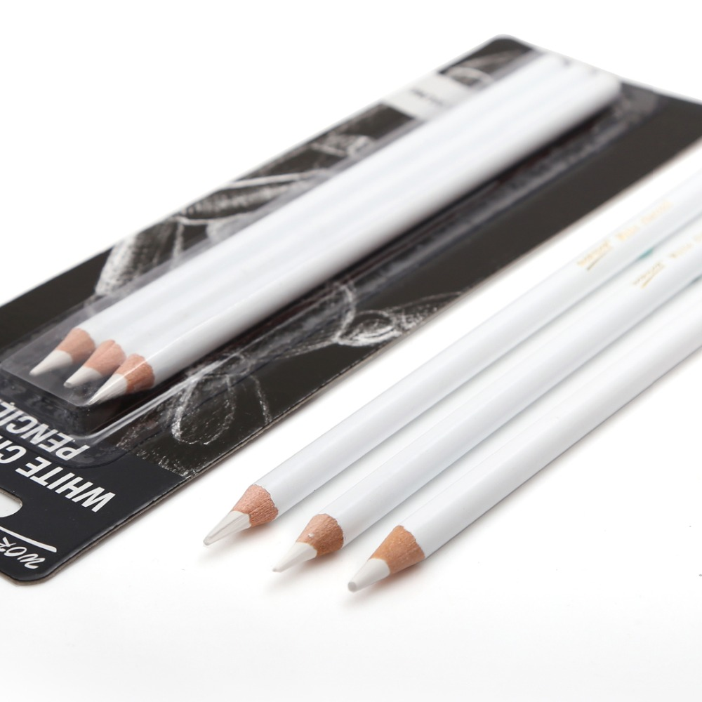 Professional 3Pcs White Sketch Charcoal Pencils Standard Pencil Drawing Pencils Set For School Tool Painting Art Supplies