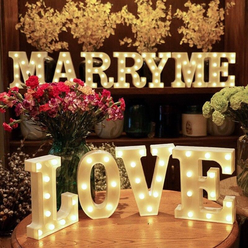 Алфавит буквы светодиодные лампы шатер знак номер лампы украшение ночник для вечеринки спальни Свадьба День рождения Рождество Декор