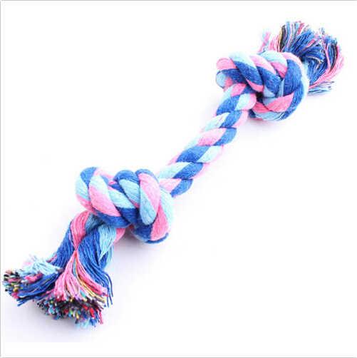 Gorąca sprzedaż podwójna lina z bawełny z supłem trąbka supeł do gryzienia zabawka zwierzęta zaopatrzenie dla piesków szczeniaczek zabawka dla zwierząt bawełna pleciona kość lina
