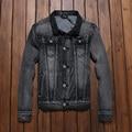 Джинсовой Куртке Мужчины Ripped Slim Fit Vintage Мужская Куртка Пальто На Открытом Воздухе Джинсы Бренд Одежды с отложным Воротником И Пиджаки # TBK005