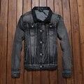 Los Hombres Chaqueta de mezclilla Rasgado Slim Fit Jeans Vintage Escudo Chaqueta Para Hombre Al Aire Libre Ropa de la Marca Da Vuelta-abajo Outwear # TBK005