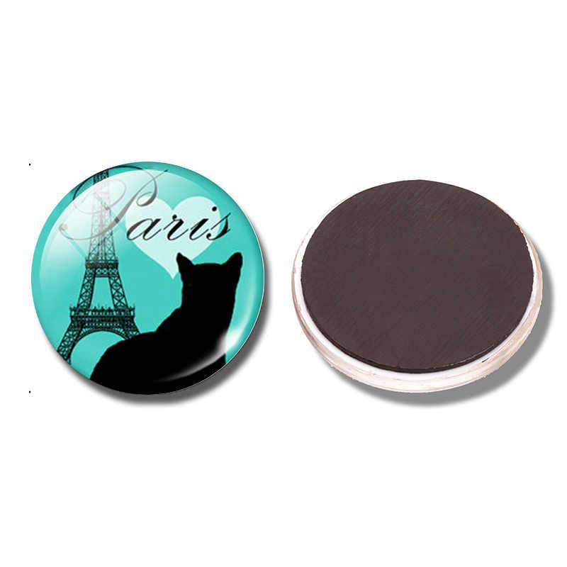 أسود القط 30 مللي متر الثلاجة المغناطيس باريس السياحة صورة فنية الزجاج كابوشون ملاحظة حامل المغناطيسي الثلاجة ملصقات الديكورات المنزلية