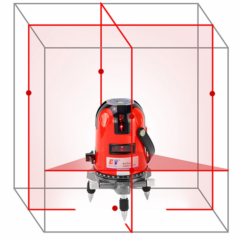 Rotary Laser Level Self Leveling 5 Lines 6 Points Cross Levels with Outdoor and Slash Function Euro Plug 635nM Lazer Level