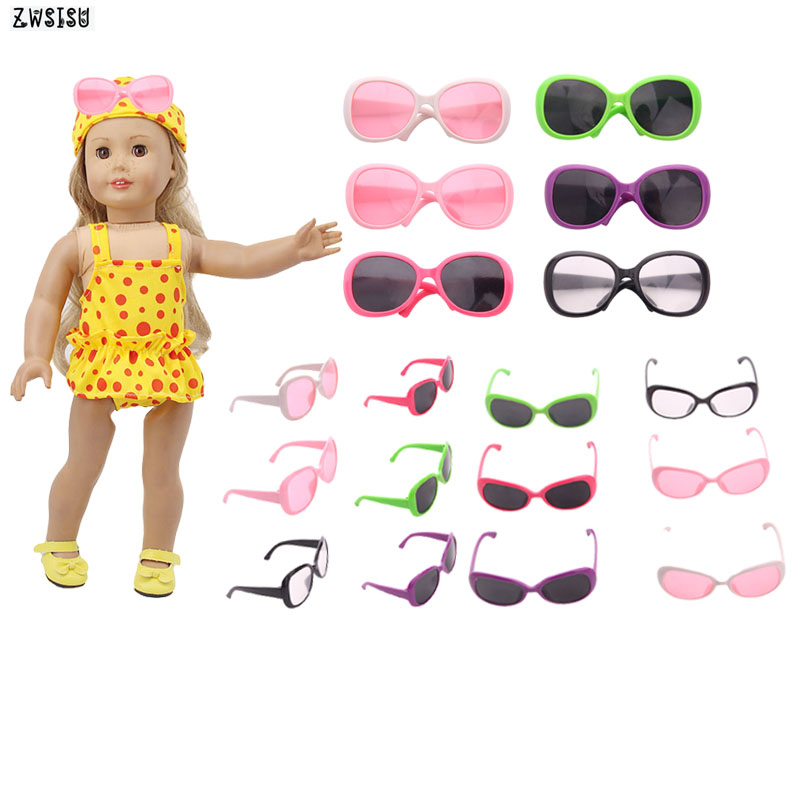 ZWSISU Fashion 12 Pcs Doll Swimsuit Sunglasses Fit 18 Inch American Doll & 43 Cm Baby Doll Accessories For Generation Girl`s Toy