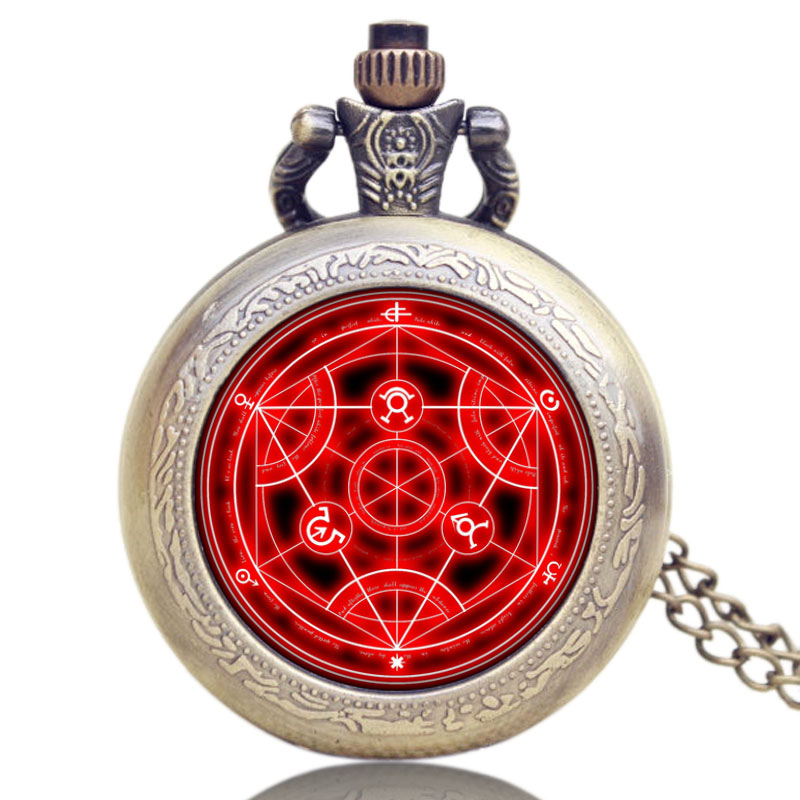 YISUYA Antique Fullmetal Alchemist Case Bronze Pocket Watch With Chian Necklace Christmas & Birthday Gift Men Women Boy Pendant