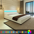 iKayaa modern Bed artificial leather solid wood bedroom furniture with LED home furniture White Free ship to Spain 200 x 180 cm