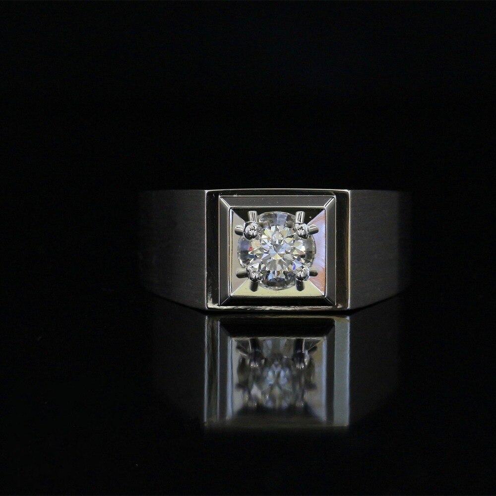 LASAMERO anneaux pour hommes 0.308CT taille ronde bague en diamant naturel 18 k or blanc bague de fiançailles de mariage