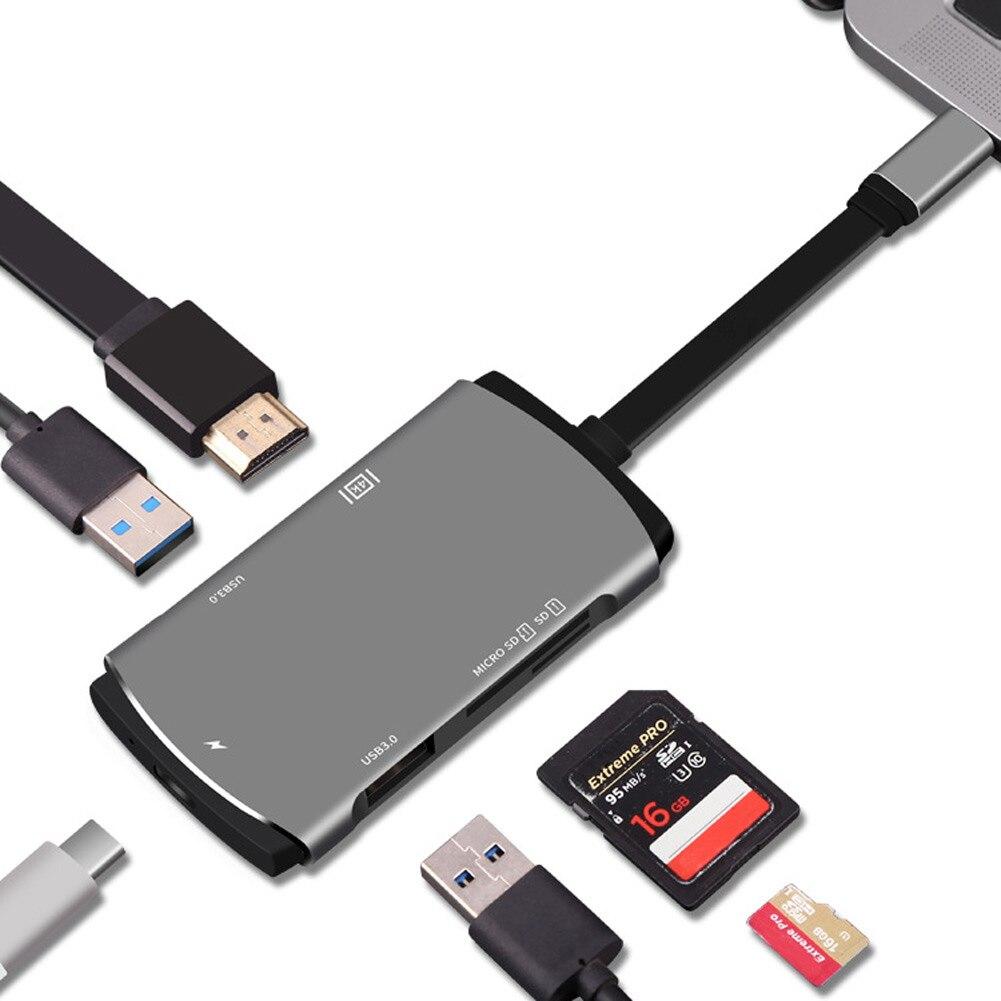 6 en 1 de Type C Adaptateur USB-C Hub avec 4 K HDMI pour Nintendo Interrupteur Samsung Galaxy S8 XXM8