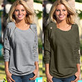 New Fashion Womens Ladies Casual Loose Long Sleeve Zipper Holes Sweatshirt Pullover Tops