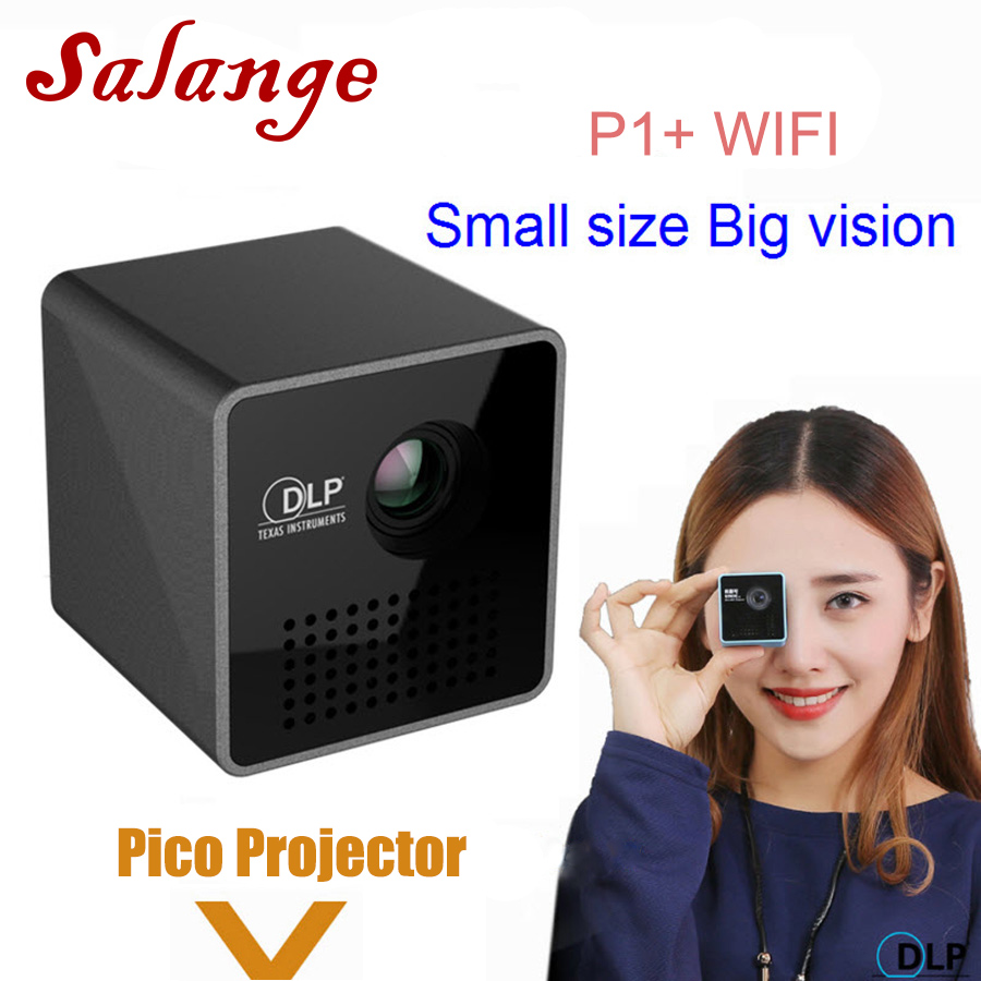 Salange P1 Plus Portable Projecteur, DLP Intelligent WiFi Projecteur, Support Miracast DLNA Airplay, Batterie Intégrée Pico Projecteur