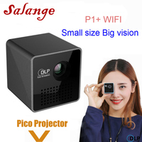 Salange P1 Plus Portable Projetor,DLP Smart WiFi Proyector,Support Miracast DLNA Airplay,Built in Battery Pico Projector