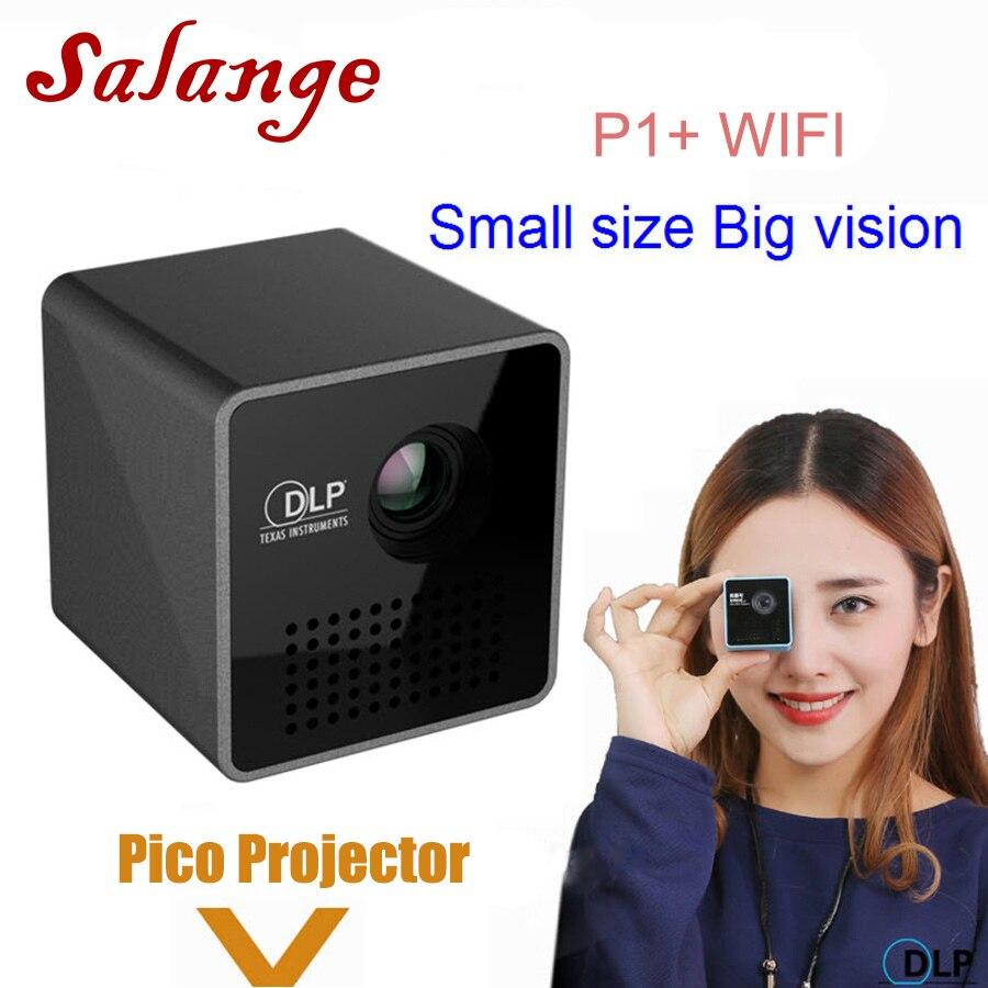 Salange P1 más portátil Projetor DLP inteligente WiFi Proyector, soporte Miracast DLNA Airplay, batería incorporada Pico Proyector