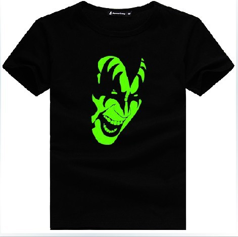 kiss band shirt novelty luminous shirts rock face t shirts o neck rh aliexpress com Heavy Metal Clothing Beatles T-Shirts XXXL