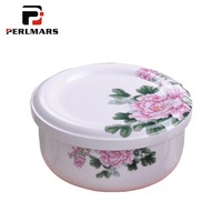 Pastoral Style Ceramic Porcelain Bowl with Lid Kit House Dinnerware Tableware / Student Rice Box Salad Fruit Bowls Sou Soup Bowl