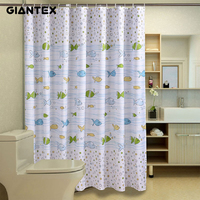 GIANTEX Fish Pattern Polyester Bathroom Waterproof Shower Curtains With Plastic Hooks U1029