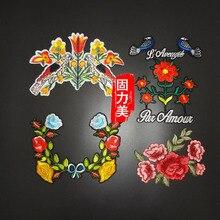 5 шт. Мода цветок и птица вышитые Мотив Hot Fix железа на пошив пальто футболка патч аппликация DIY Кружево Костюмы аксессуар