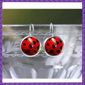 Ladybug Earrings - Insect Jewelry - Cute Ladybird Red and Black Jewelry for Women - Fun Unique Silver Gifts for Anniversary