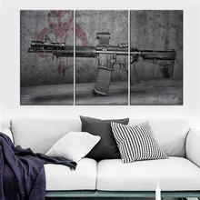 Weapon Gun Painting One Set 3 Piece Modular Style Picture Modern On High Quality Canvas Print Type Home Decorative Wall Poster