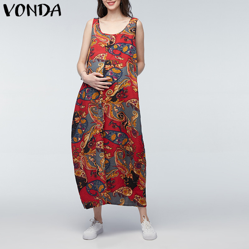 VONDA Pregnant Women Maternity Clothing 2018 Summer Casual Loose Sleeveless Maxi Long Dress Pregnancy Vintage Print Vestidos 5XL