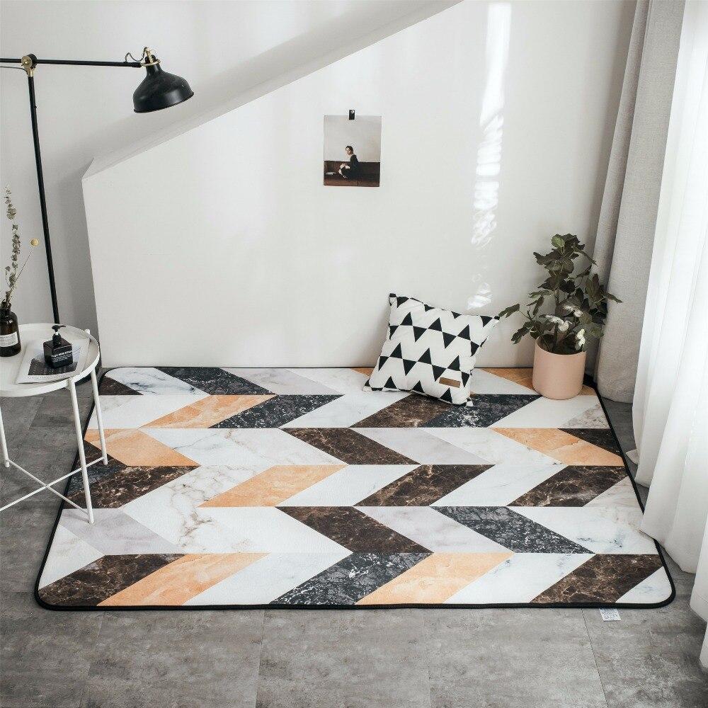 Ins style nordique marbre velours doux tapis de sol salon tapis antidérapant zèbre motif géométrique tapis 150x195 cm taille tapis de sol