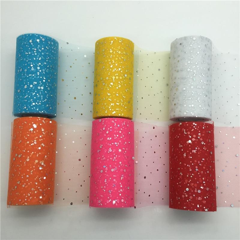 Glitter Sequin Tulle Roll 25 Yards 15cm Spool Tutu Fabric Wedding Decoration Organza Laser DIY Crafts Birthday Party Supplies